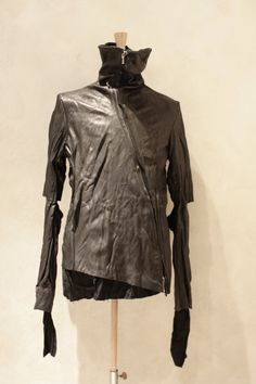 OBSCUR FW 11-12 ASYMMETRICAL ZIP LEATHER JACKET