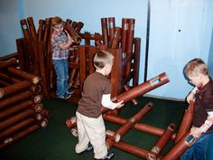 life size lincoln logs made from recycled carpet tubes...love!!!!!!