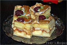 Prăjitură rapidă din pișcoturi și mere – Vicky's Recipes Food Tasting, Waffles, Caramel, French Toast, Cheesecake, Deserts, Sweets, Cooking, Breakfast