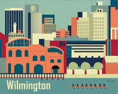 Wilmington, Delaware City Art Poster Print for Home, Office, and Child's Room - style Delaware City, Wilmington Delaware, Cityscape Art, Skyline Art, Canvas Wall Art, Canvas Prints, Art Prints, Office Prints, Office Artwork
