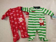 Carters Christmas One Piece Sleeper Santas Helper Or Cute N Cozy Green OR Red #Carters #OnePiece