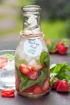Saturday Sips! Flavored Waters = Strawberry + Basil. Tags from Evermine {www.evermine.com}