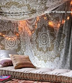 Mandala wall decor is a great way make your home feel more relaxing.  In addition, to being relaxing mandala wall decor is beautiful, unique and incredibly popular right now.  You will see it everywhere from bedrooms, living rooms offices, and yoga / exercise rooms.  Tapestry Mandala Passion Ombre Metallic Gold Queen Indian Cotton Wall Hanging by Raajsee,Hippie