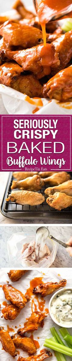 Truly Crispy Oven Baked Buffalo Wings - no false promises here, these wings are seriously crispy and unbelievably easy to make. Tossed in a classic Buffalo Sauce and served with blue cheese sauce. Watch the recipe video to HEAR just how crispy these are! Chicken Wing Recipes, Baked Chicken, Chicken Wing Sauces, Baked Buffalo Wings, Buffalo Wild Wings, Wings In The Oven, Baking Wings In Oven, Oven Baked Wings, Oven Wings