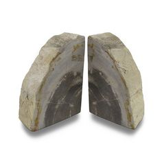 Indonesian Light Colored Petrified Wood Bookends 6-8 Pounds