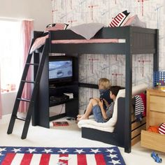 High sleeper bed - Exciting Imaginative Bedroom Ideas For Kids Dream Rooms, Dream Bedroom, Girls Bedroom, Bedroom Loft, Geek Bedroom, Boys Bedroom Wallpaper, Childs Bedroom, Baby Wallpaper, Bedroom Office