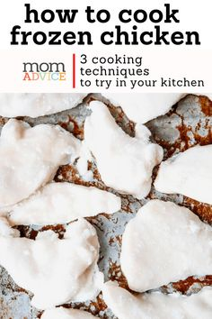 3 Ways to Cook Chicken Breasts From Frozen - MomAdvice Baking Frozen Chicken, Frozen Chicken Recipes, Baked Chicken Recipes, Oven Recipes, Kid Recipes, Dinner Recipes, Ways To Cook Chicken, Oven Baked Chicken, Slow Cooking