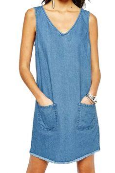 Sweet Solid V Neck Sleeveless Patched Mini Shift Dress - AZBRO.com