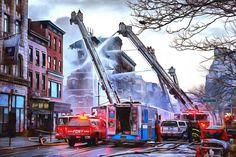 Print Firefighter Acrylic Painting fdny truck fireman
