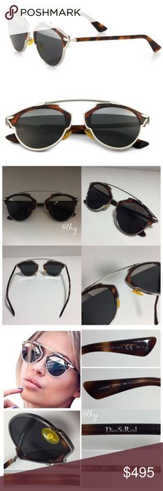 DIOR SO REAL METAL ROUND SUNGLASSES 48MM AUTHENTIC Dior SoReal Metal Round Sunglasses. Worn just twice and in excellent condition, no scratches to lenses. 48mm lens width, 22mm bridge width, 140mm temple length. 100% UV protection. Made in Italy. Case not included, I can ship in another case. Tortoise shell with silver trim frames. Lenses are split style with multilayer grey with silver mirror across top. ❌❌NO TRADES NO PP NO EXCEPTIONS❌❌Offers only considered when submitted using the make…
