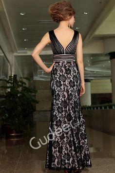 Black Floral Sleeveless V-neck Floor Length Evening Formal Dress