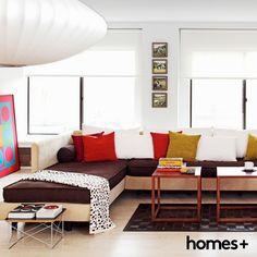 #living #room #sofa #cushion #contemporary #style #print #artwork #rug #coffee #table #throw #sidetable #book #decor #interior #homesplusmag Table Throw, Contemporary Style Homes, Sofa, Couch, House And Home Magazine, Interior Inspiration, Cushions, Rug, Living Room