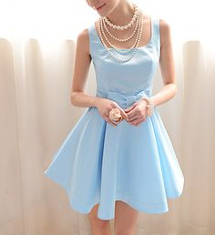 Women's Graceful Bow Narrow Waist Pleated Sleeveless Blue Dress, BLUE, XL in Vintage Dresses | DressLily.com