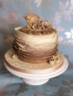 mocha ruffle ombre cake, inside coffee and walnut by cakes for takes