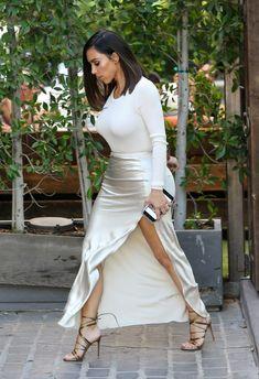 Kim Kardashian West in Enza Costa, Nili Lotan, and Gianvito Rossi.