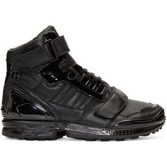 Juun.j Black Leather High-Top adidas by Juun.J Sneakers featuring polyvore, fashion, shoes, sneakers, black leather sneakers, black sneakers, black high tops, high top shoes and high top sneakers