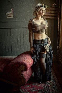 Women's Modern Sexy Steampunk Fashion - For costume tutorials, clothing guide, fashion inspiration, steampunk event calendar, & more, visit SteampunkFashionGuide.com