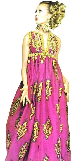 Gold painted fuchsia silk dinner dress by George Halley, 1967