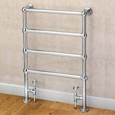 Supplies 4 Heat Cleves Wall and Floor Mounted Traditional Towel Rail - a classic steel towel rail available in a Chrome finish. Prices from inclusive of VAT and delivery. Bathroom Towel Radiators, Stainless Steel Towel Rail, Lodge Bathroom, Wall Railing, Traditional Market, Designer Radiator, Towel Warmer, Heated Towel Rail, Flooring