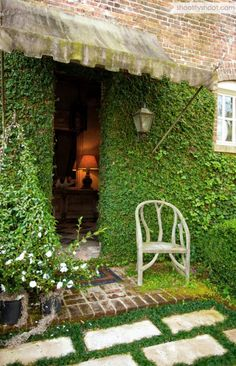 ivy front door + grass pavers + awning