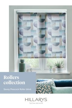 Featuring the same pseudo-Cubist print to the fabric, this Roller blind utilises blues but again all the colours sit towards the black end of the spectrum, and again the brown-grey squirrel colour rectangles with arches a touch darker. View this beatuiful print to get the look for your room.