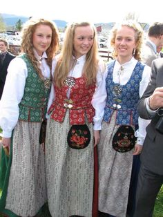 Colors of Tronderlag bunads this is my family bunad. My mom wears red, I wear blue, and my sister wore green