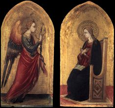 BICCI DI LORENZO The Angel and the Virgin of Annunciation 1433-34 Tempera on panel, 64 x 32 cm (each) Private collection