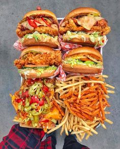 Chicken Madness Fried Chicken Sandwiches, The Firebird, Kerry's Classic, Pulled Pork Loaded Fries, French Fries & Sweet Potato Fries From Blue Ribbon Fried Chicken in Las Vegas via: I Love Food, Good Food, Yummy Food, Sleepover Food, Food Goals, Aesthetic Food, Food Cravings, Food Videos, Food Photography