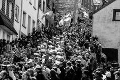 The peloton accends Cote de Saint-Roche during the 98th Liege-Bastogne-Liege cycling race