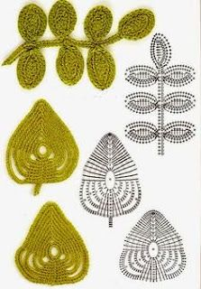 crocheted leaf patterns for irish crochet lace Crochet Leaf Patterns, Crochet Leaves, Crochet Motifs, Knitted Flowers, Freeform Crochet, Crochet Diagram, Crochet Chart, Love Crochet, Irish Crochet