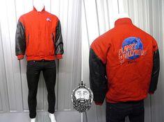 Vintage 90s Planet Hollywood Paris Wool Jacket Faux Leather Sleeves Disneyland Paris 90s Bomber Jacket Hard Rock Cafe Wool Bomber Jacket
