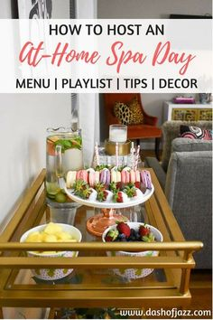 Invite your girlfriends over and host an at-home spa day with this party guide of budget-friendly tips, inspo, and product recommendations to easily turn your home into a relaxing retreat. Tutorial by Dash of Jazz via spa day Host a Galentine's Spa Night Spa Party Foods, Spa Day Party, Girl Spa Party, Spa Birthday Parties, Pamper Party, Snacks Für Party, Diy Party, Teen Parties, Glow Party