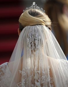 A close-up view of Stephanie's hair and veil.  The wedding of Prince Guillaume, the heir to the throne - the grand duke-to-be - and Belgian Countess Stephanie de Lannoy took place at the Cathedral of our Lady of Luxembourg.