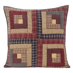 """Extra large Millsboro Euro Sham is a perfect accent for your bedding ensemble or to use in another room of the house. Perfect for a floor pillow in the family room. FEATURES - Patchwork - Hand quilted, machine pieced - Stitch in the ditch hand quilting - Featuring log cabin blocks in burgundy, rust, navy and tan - Straight edge with .5"""" bias cut navy plaid fabric - Reverses to tan with navy flecks fabric with 3-button closures - 3"""" overlap to conceal pillow insert SPECIFICATIONS…"""
