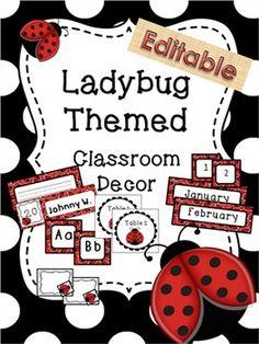 Editable - Ladybug themed classroom labels
