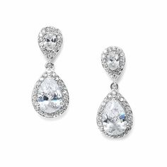 Love these CZ Cubic Zirconia Teardrop Wedding Earrings! affordableelegancebridal.com