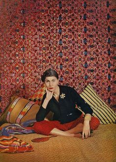 Countess Corti, December Vogue 1954 The daughter of the Duchess of Cesaro . Here  in NY home