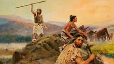 Zdeněk Burian - Humans hunting a herd of mammoths Prehistoric World, Prehistoric Animals, Paleolithic Era, Early Humans, Human Evolution, Sword And Sorcery, Primitive Survival, Stone Age, Historical Pictures