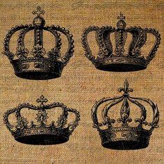 Couronne couronne royale Image numérique téléchargement transfert d'oreillers Tote torchons jute No 1016