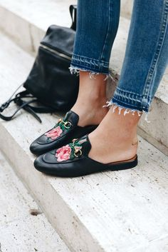 gucci embroidered mule loafers street style