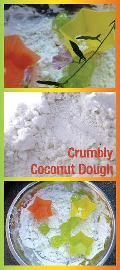 Crumbly Coconut Dough - sensory play from Creative Playhouse made with coconut milk and cornflour.