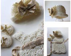 Vintage Downton Abbey Inspired Crochet Baby Dress Crochet Hat w/Pinwheel Bow Crochet Booties Gold and Cream Baby Dedication Set Custom Order