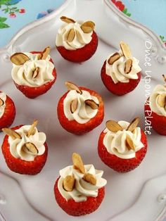 I could eat my weight in these. Mini strawberry-cheescake bites.