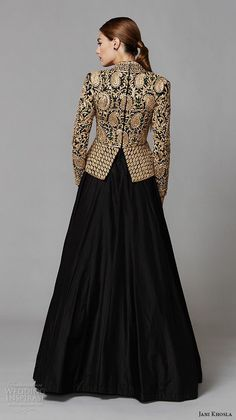 jani khosla 2015 bridal evening dress long sleeves v neck gold embroidery top black skirt a line gown zardozi back view -- Jani Khosla Indian Gowns, Indian Attire, Pakistani Dresses, Indian Outfits, Indian Wear, Indian Designer Outfits, Designer Dresses, Look Fashion, Indian Fashion
