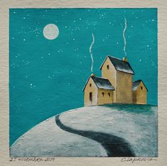 Winter landscape painting Full moon painting House on hill Small artwork Original art inches acrylic painting within an mount Moon Painting, House Painting, Small Paintings, Landscape Paintings, Original Artwork, Original Paintings, Small Canvas, Affordable Art, Winter Landscape