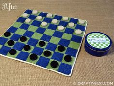 Get your game face on! Make this fun and portable checkers set out of an upcycled carpet sample!