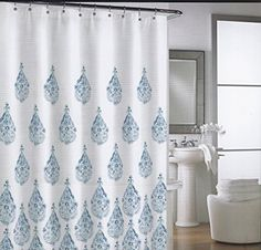 Cynthia Rowley New York Fabric Shower Curtain, 100% Cotton (Blue Ombre  Raindrops)