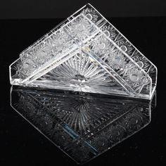 Vintage Bohemia Crystal Kristall Serviettenhalter Kristall Glas Stern Schliff R4