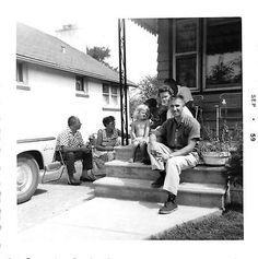 Black and White Vintage Snapshot Photograph Family Porch Yard Smile 1960's