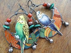 Tin parrots by pipnmolly on etsy- id like something similar but a little more polished Jewelry Findings, Jewelry Art, Jewelry Design, Earrings Handmade, Handmade Jewelry, Tin Art, Animal Jewelry, Jewelery, Feels